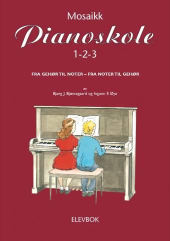 Mosaikk pianoskole 1-2-3 elevbok omslag