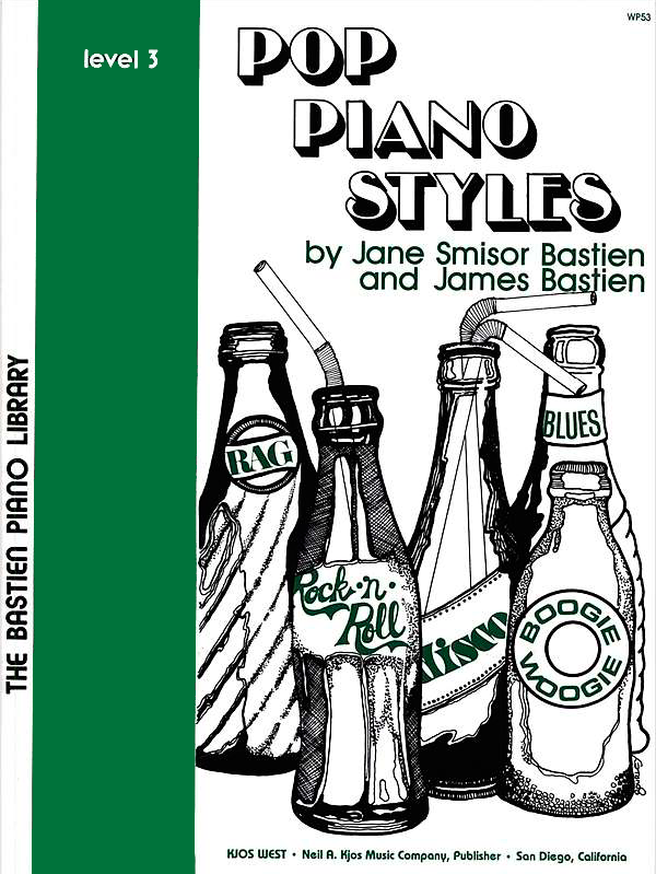 BASTIEN: Pop Piano Styles, Level 3  This book is a varied and fun-packed collection of todays sounds, featuring rock, blues, and boogie styles. This light and refreshing supplementary music will brighten students' practice time. Great for heightening rhythmic awareness!
