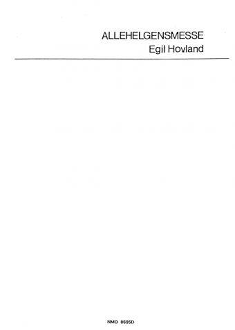 EGIL HOVLAND: Allehelgensmesse (Menighetshefte)