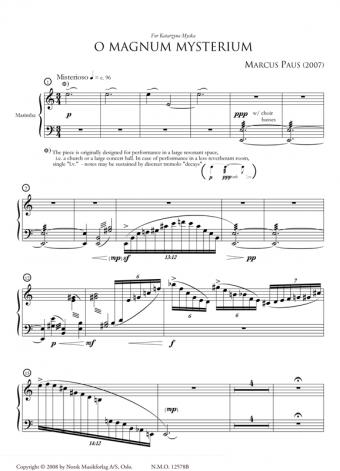 MARCUS PAUS: O Magnum Mysterium (Marimba part)