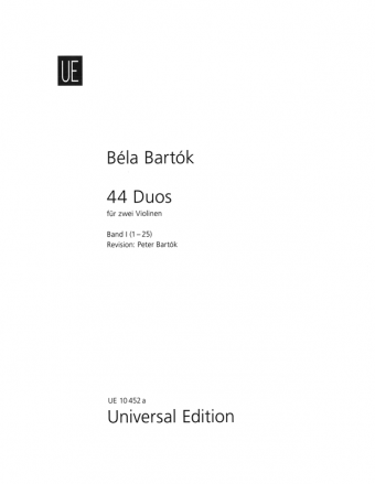 Béla Bartók: 44 Duos, Band 1 (For Two Violins)