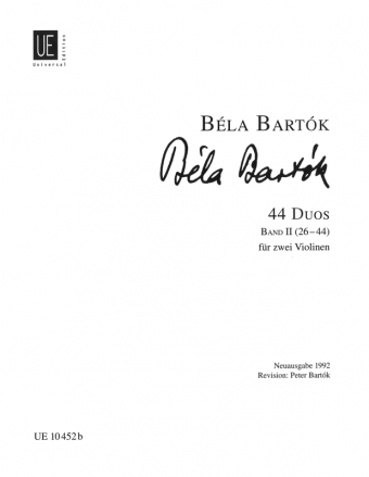Béla Bartók: 44 Duos bind 2 (for to fioliner)